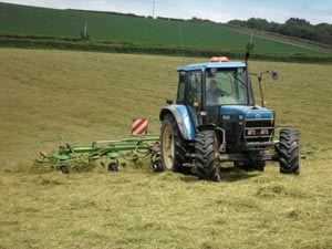 before bailing the Haylage at Sillaton Farm Stables