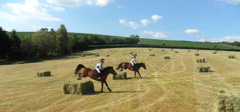 Jumping the bales of hay at Sillaton Farm Stables